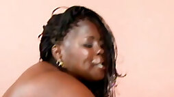 Incredibly fat ebony cougar gets experienced muff stretched in various styles