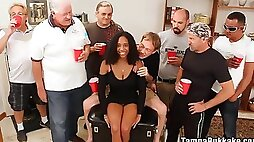 Old men go nuts with young busty ebony - massive facial bukkake cumshots