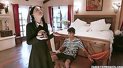 Filthy stepsister Kate Bloom bangs tied up stepbrother after blowjob session