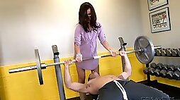Brunette porn star works out in the gym before fucked Hardcore