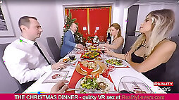 Incredible Christmas Dinner with oral job under the table