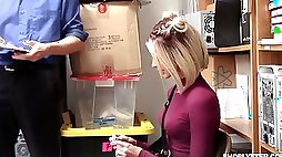 Shoplifting chick Emma Hix gets her pussy fucked in the back room