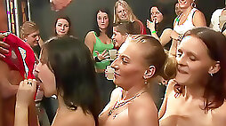 Party girls line up to suck dick