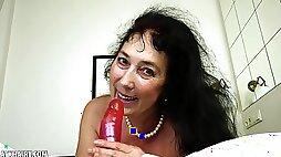 Esmeralda Strips Off Her Lingerie To Masturbate With A Dildo
