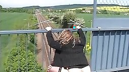 Fat mature German whore will be riding a penis outdoors