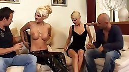 Two Arousing Blonde Europeans Fucked In Foursome