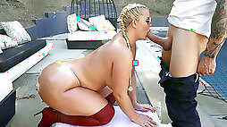 Julie Cash is sucking cock and licking balls outdoors