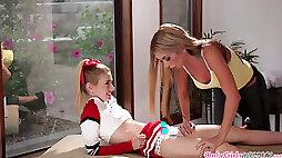 Teen cheerleader massaged and pussy licked