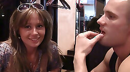 Alluring blonde chick July loves dirty talks with strangers at the cafe