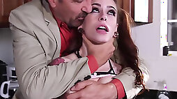 Anna de Ville seduces stepfather to fuck her both holes in the kitchen