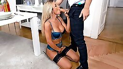 Shalina Devine in sexy lingerie gives masterful blowjob