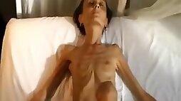 Bizarre amateur skinny bony babe shows off her tiny