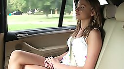 Taxi driver spreads legs of Ivana Sugar for his big penis in the car