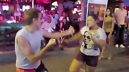 Thai Girls Kick Man in the Face