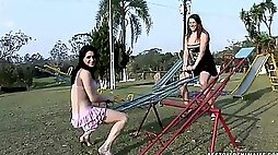 Outdoor games with brutal dildos for two horny shemale sluts