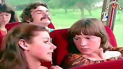 Two young vintage chicks are getting hairy cunts fucked by one guy